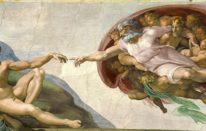 Wallpaper Michelangelo Creation of Adam Vatican Religion 1332x850