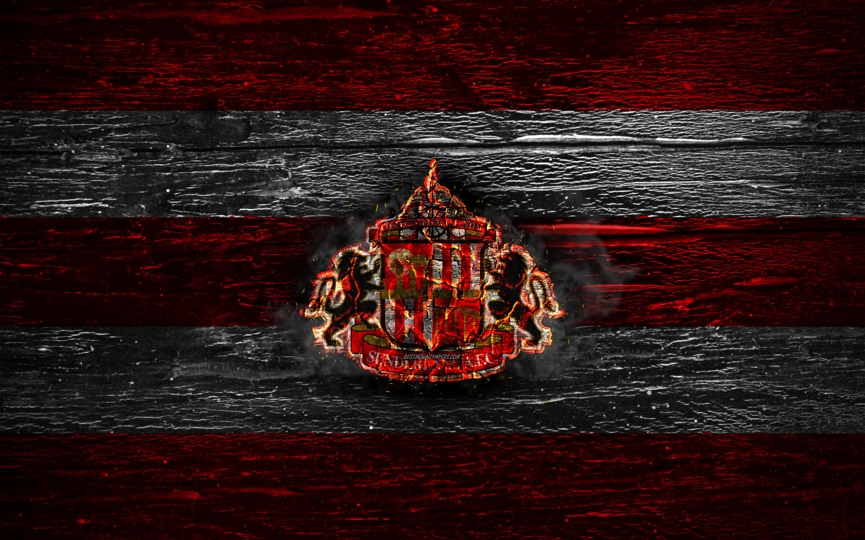Download wallpapers Sunderland FC fire logo Championship red 2880x1800