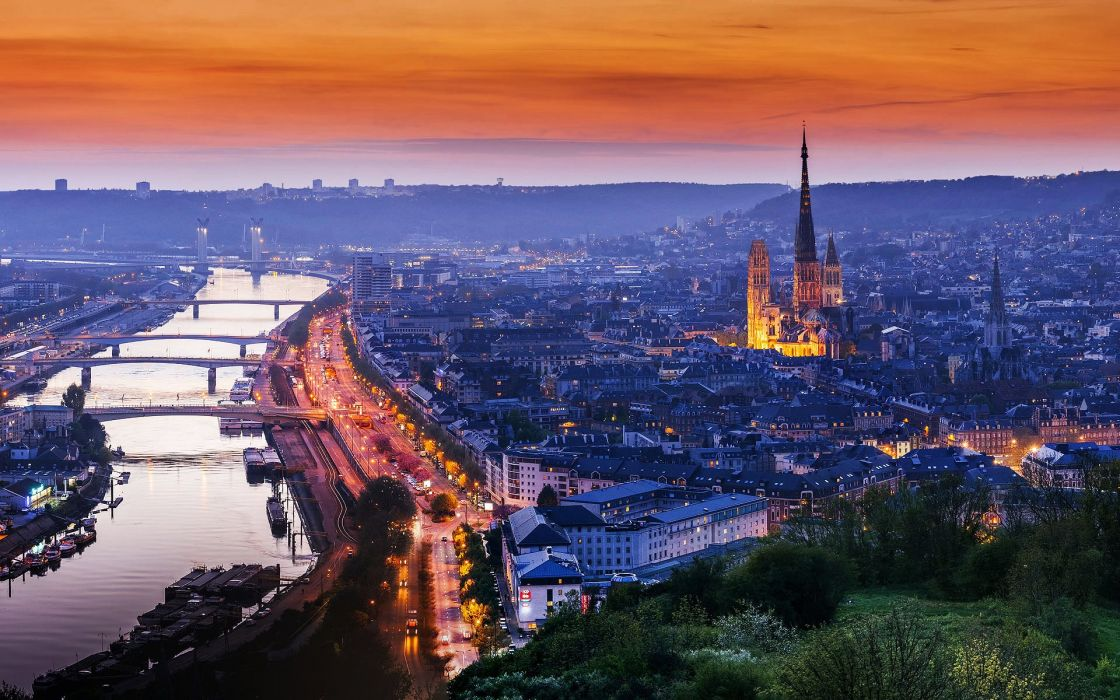 Rouen France Normandy cathedral house road light sunset evening 1120x700