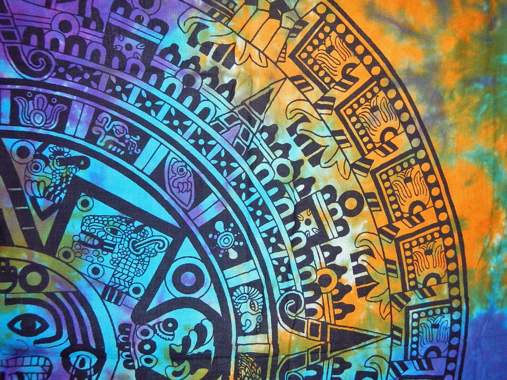 XL Wall Sized Tapestry   Tie Dye Aztec Calendar 1024x768