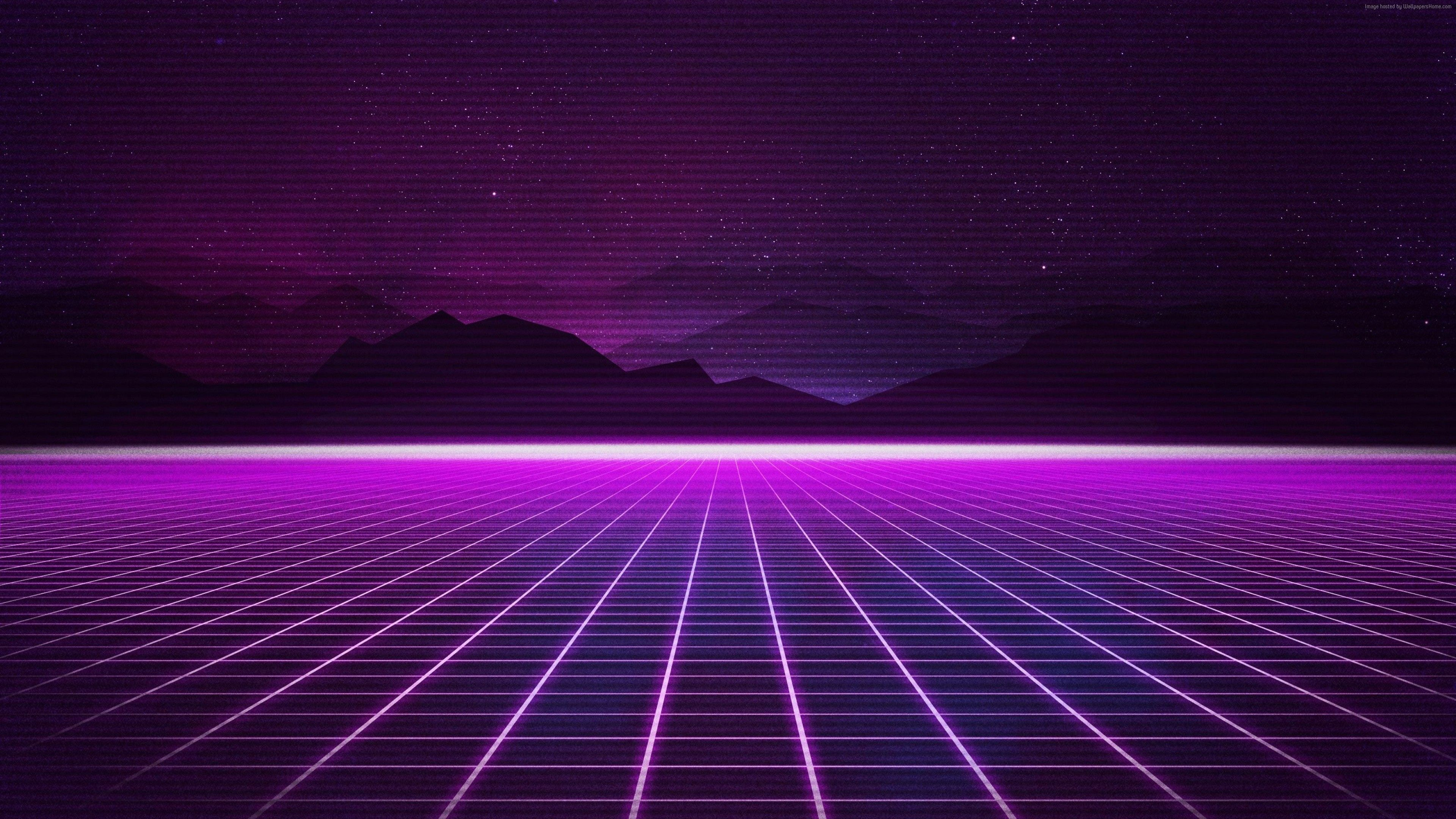 Wallpaper Retrowave Purple lines 4K Art Vaporwave wallpaper 3840x2160