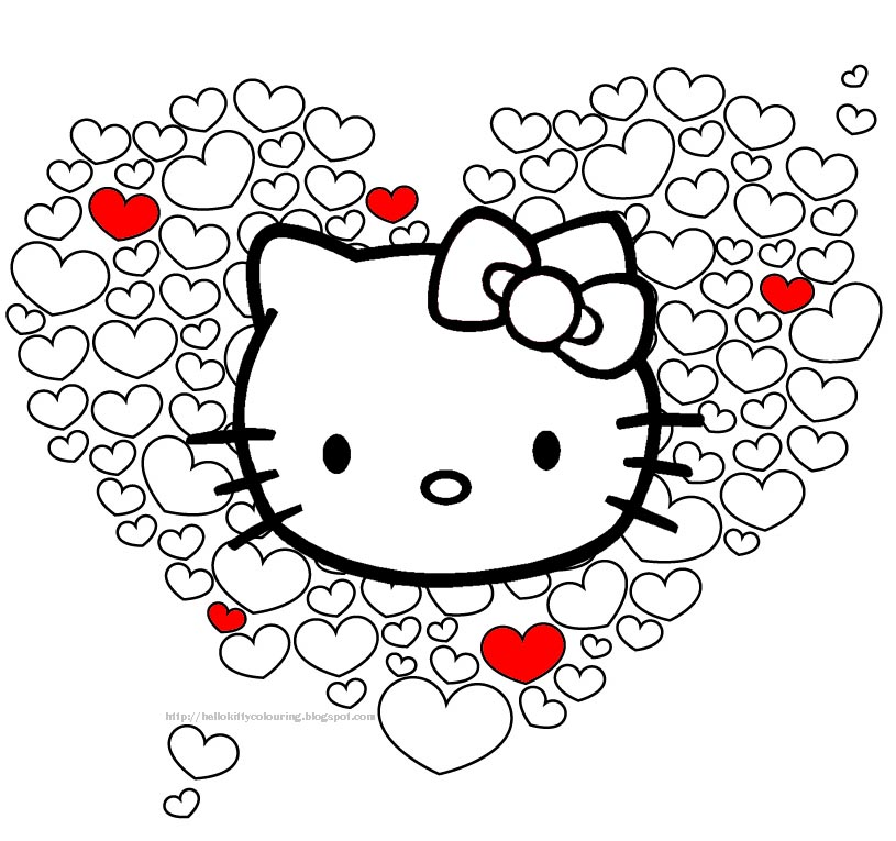 HELLO KITTY VALENTINE HEARTS PRINT AND COLOR 815x765