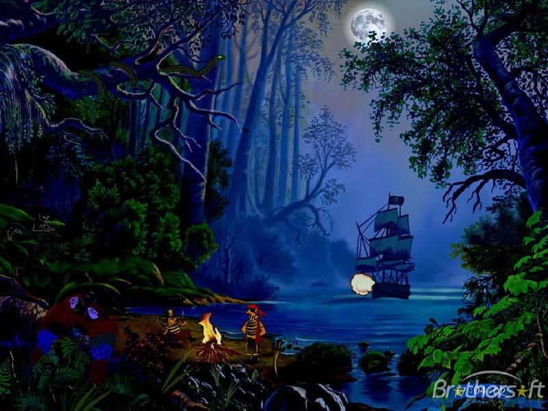 Treasures Island   Tropical island pirate schooner in lagune 800x600