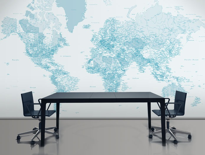 Add Some Sophisticated Style with Wall Maps   Home Style Tips 695x525