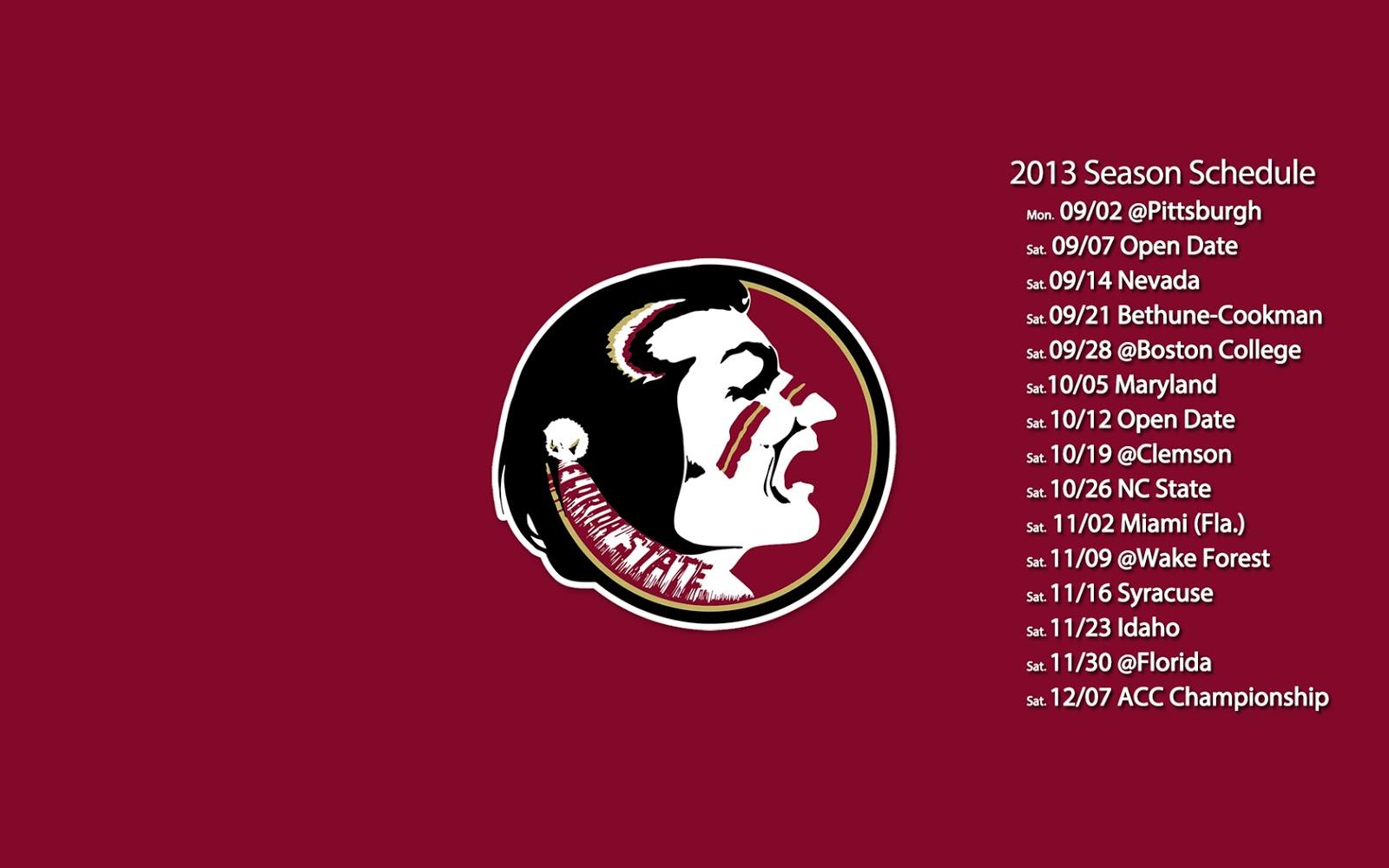 Florida State Seminoles Schedule 1600x1000