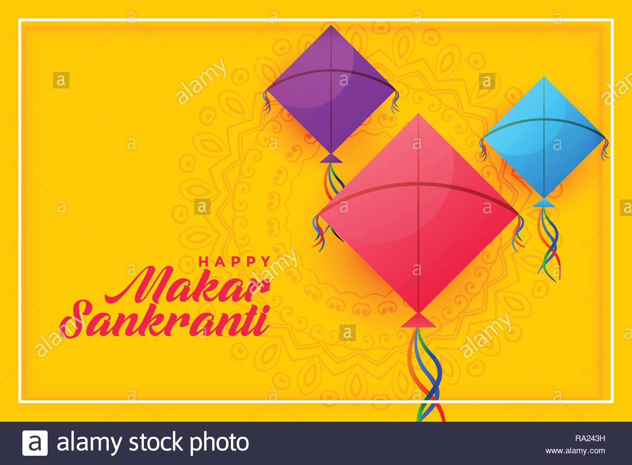 colorful kites background for happy makar sankranti Stock Vector 1300x956
