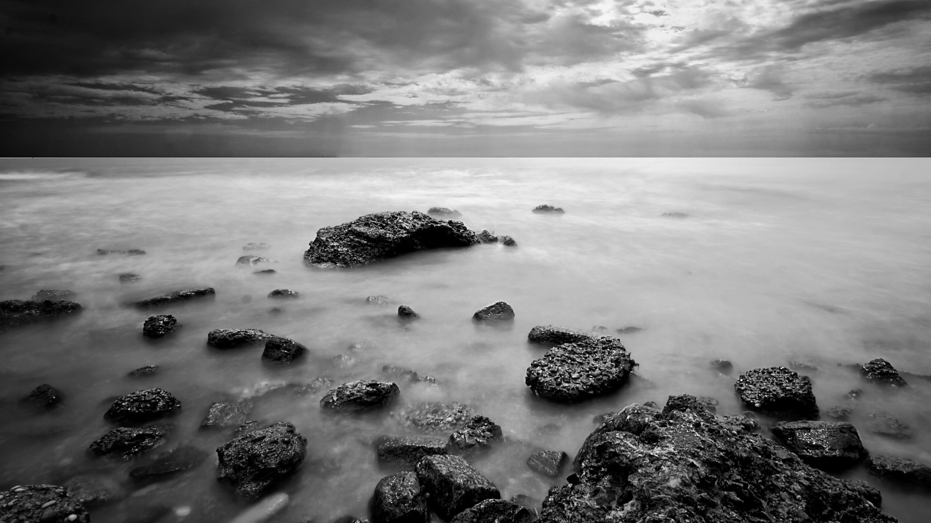 Black and white landscapes nature monochrome sea wallpaper 1920x1080