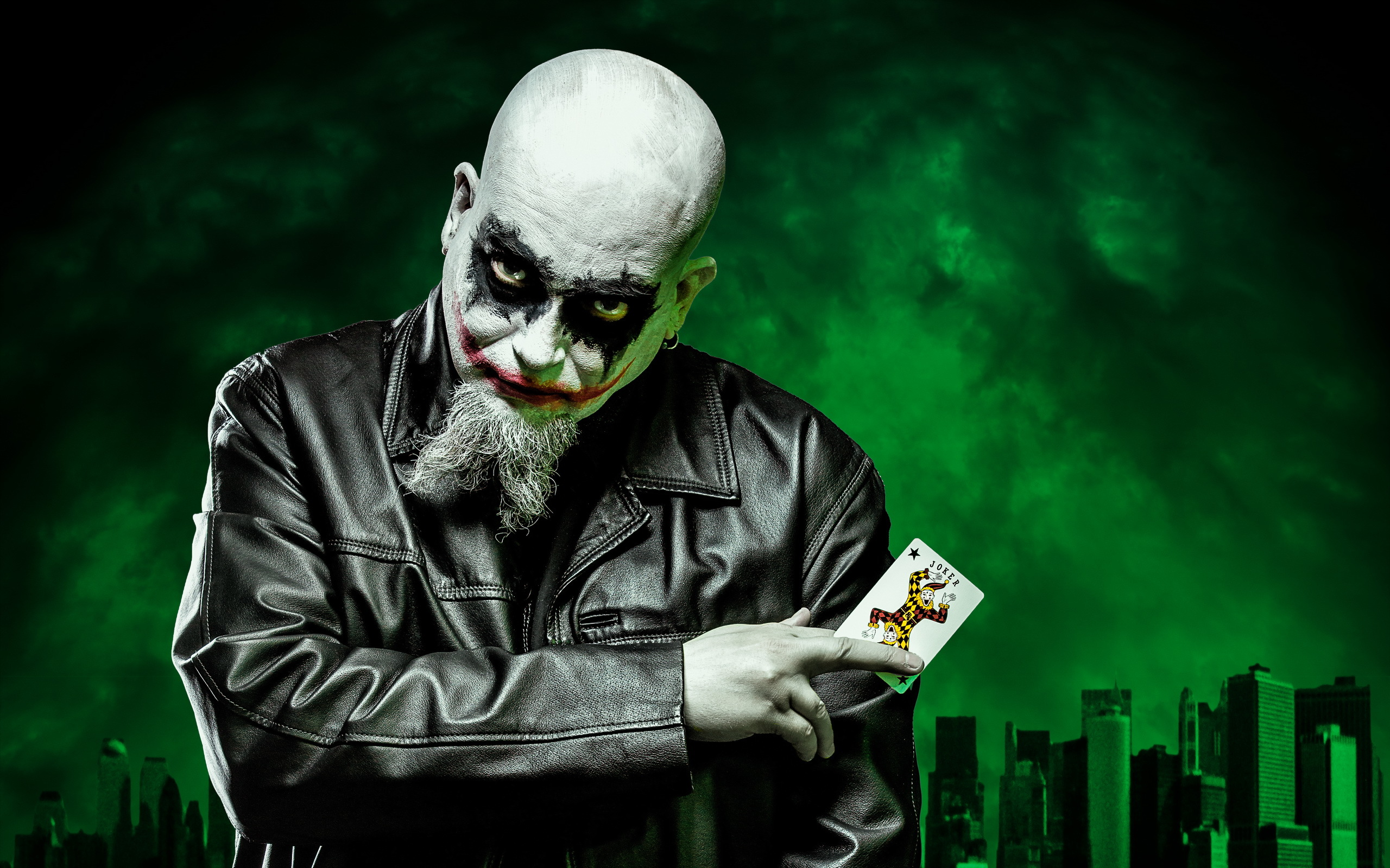 Joker dark self portrait batman clown evil wallpaper 2560x1600 2560x1600