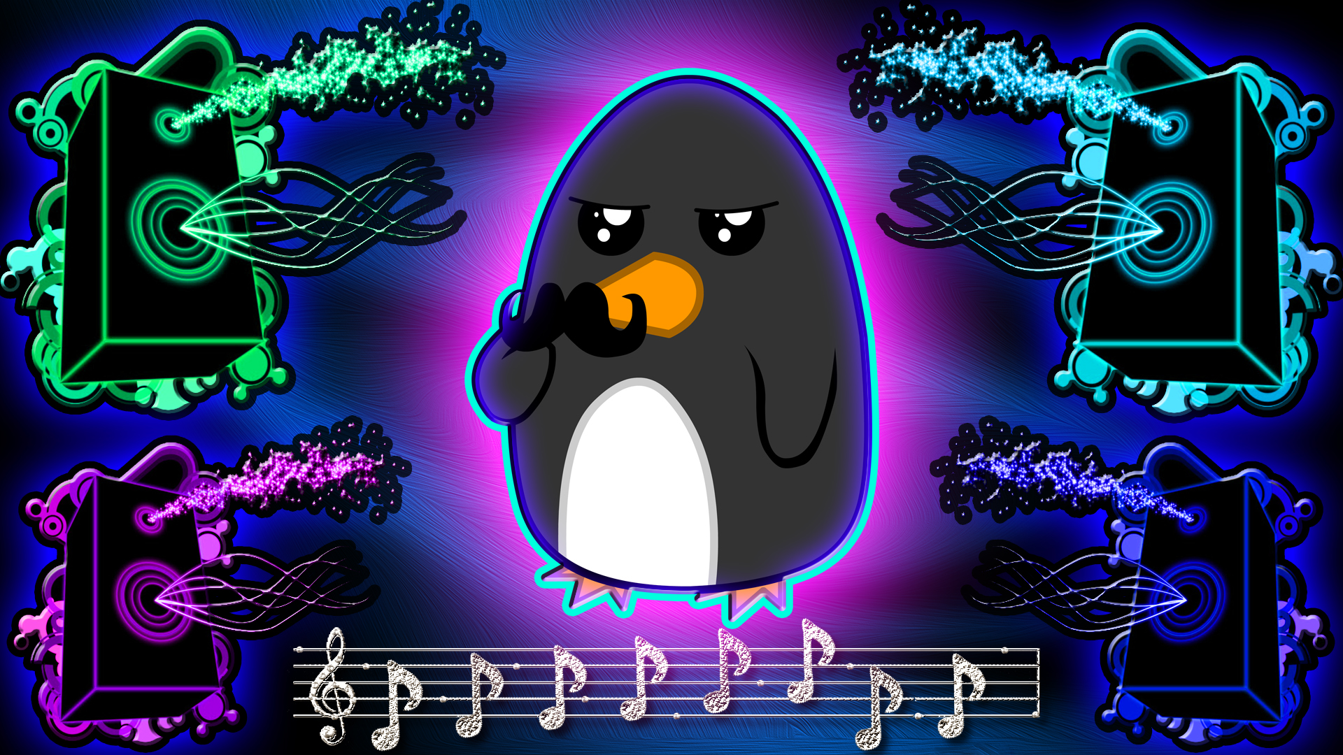 Awesome Neon Pictures Neon penguin wallpaper by 1920x1080