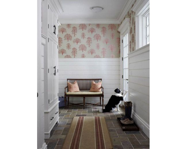 shiplap panelling wallpaper Foyers Stairs and halls Pinterest 650x520