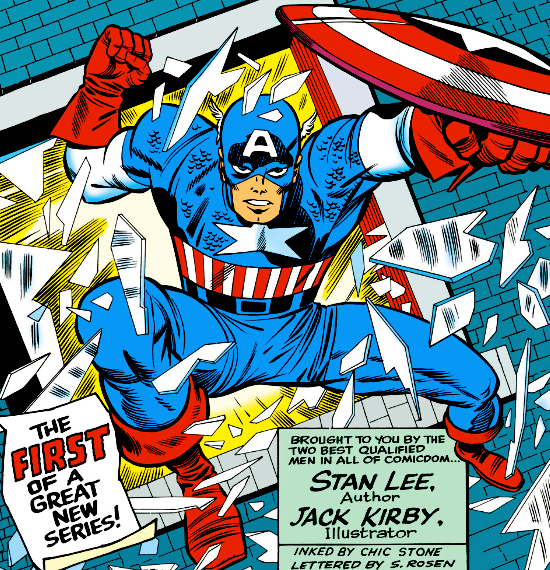Captain America Runs Stan Lee and Jack Kirby 550x570