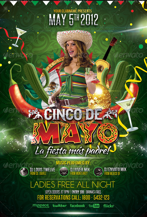 Cinco de Mayo Party   Flyer Template by LouisTwelve Design 482x711
