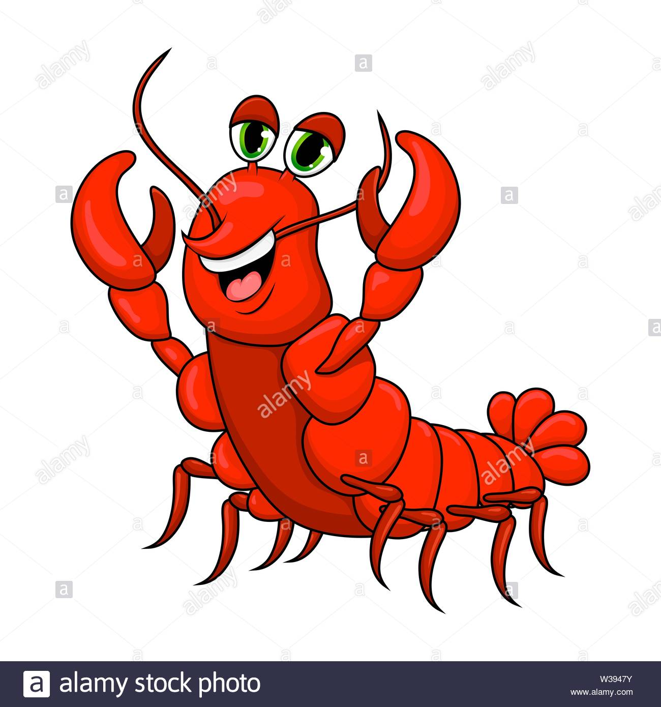 crawfish cartoon cute character illustration isolated on white 1300x1390