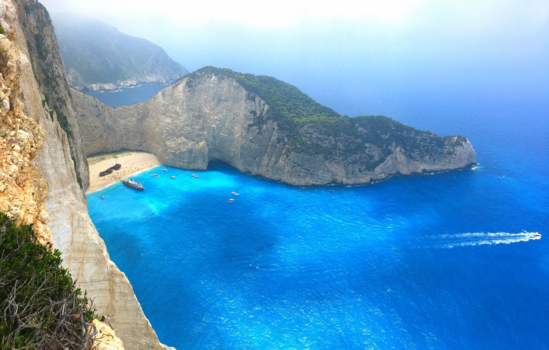 Wallpaper beach rocks ship island boats Greece The Ionian 1332x850