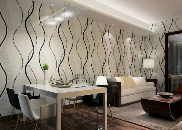 Cheap Dining Room Non   Woven Modern Removable Wallpaper With Black 600x428