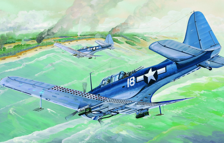 Wallpaper bomber war art airplane painting ww2 Douglas SBD 1332x850