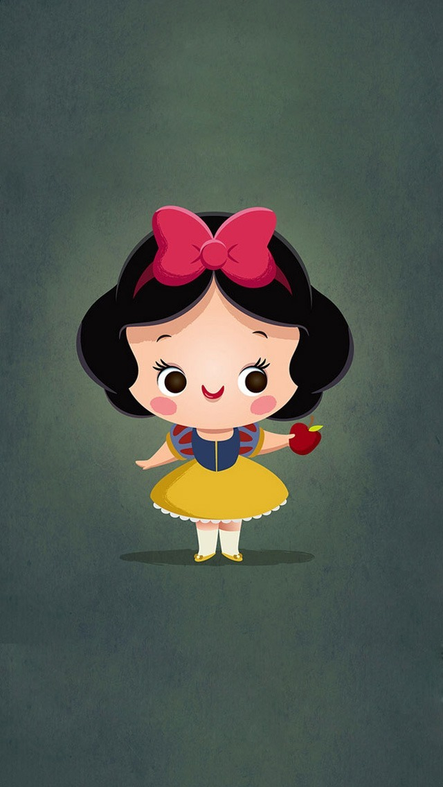 Cute Cartoon Girl with Ribbon Bow Wallpaper   iPhone Wallpapers 640x1136