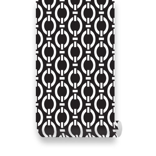 Chain Black and White PEEL STICK Repositionable Fabric Wallpaper 500x500