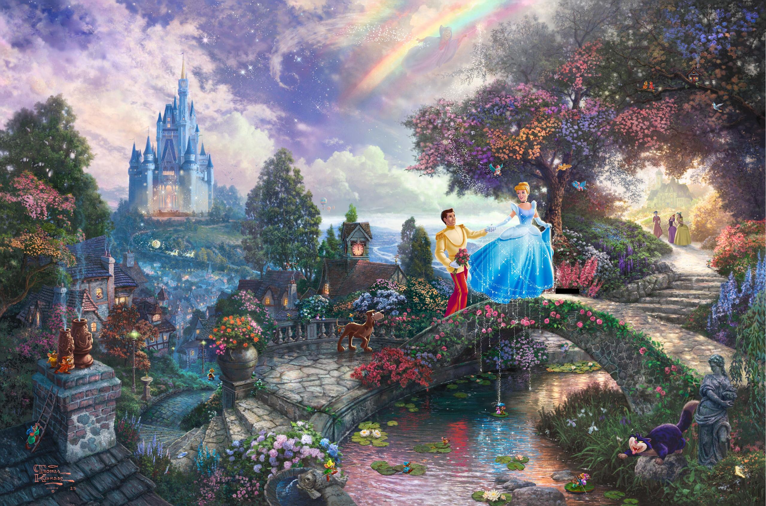 Walt Disney Characters Thomas Kinkades Disney Paintings   Cinderella 2560x1693