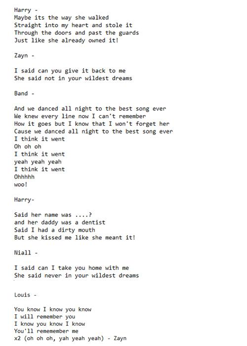 Best Song Ever Lyrics 500x700
