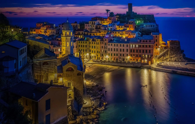 Wallpaper Italy Liguria home Vernazza night city Cinque Terre 1332x850