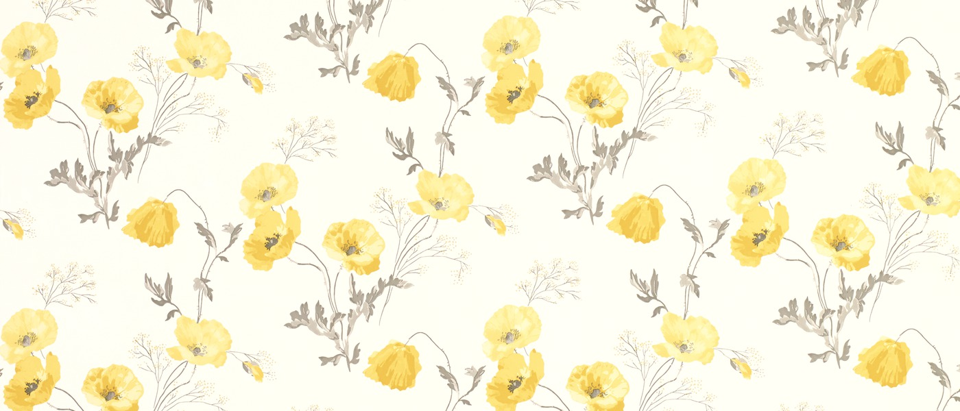 Poppy Meadow Primrose Yellow Floral Wallpaper at Laura Ashley 1400x600