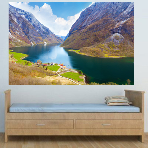 MURAL WM242   Naeroyfjord   Fjord Landscape PHOTO wallpaper mural 500x500