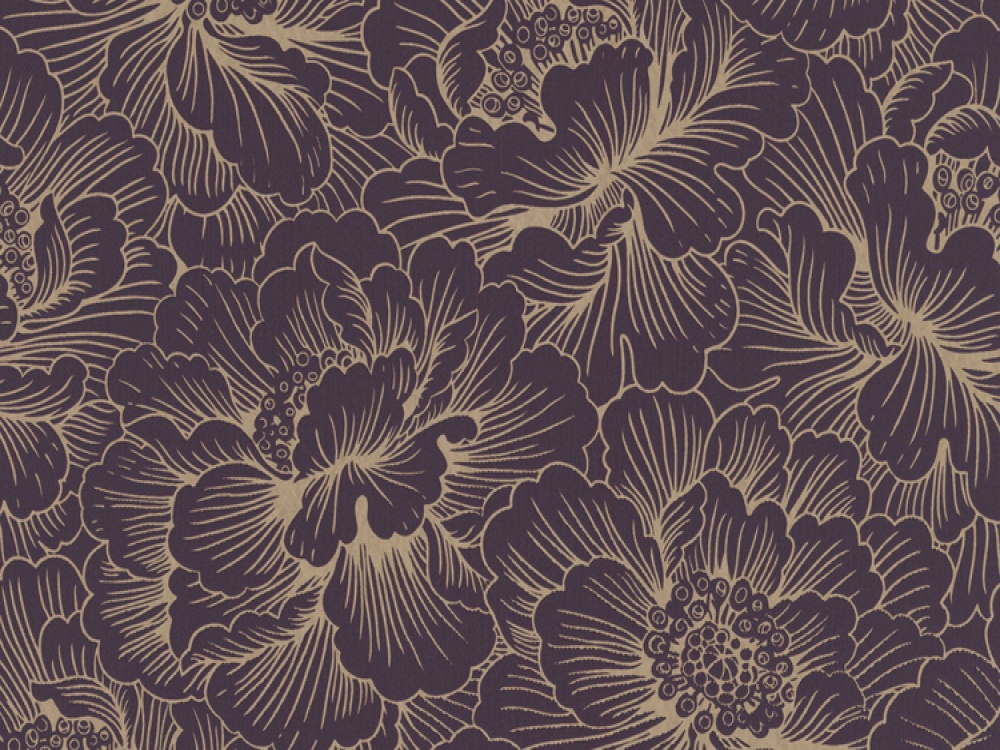 Delivery on Flourish Plum Gold Floral Wallpaper 1000x750