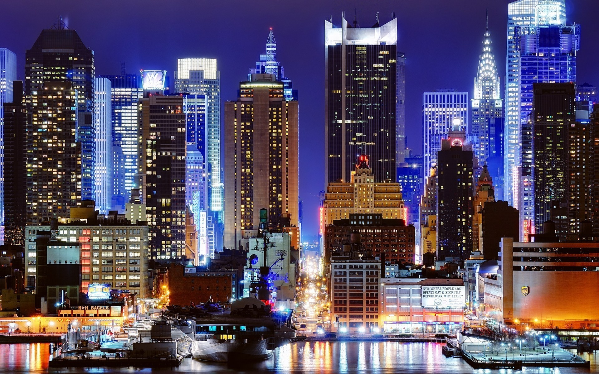 night new york city harbour city lights wallpaper background 1920x1200