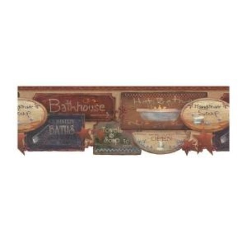 with rustic bath signs wallpaper border this charming wallpaper will 500x500