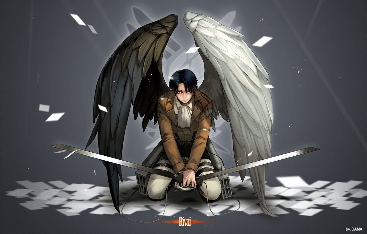 Levi Rivaille Anime Sword Blade White Black Wings HD Wallpaper Desktop 1280x816