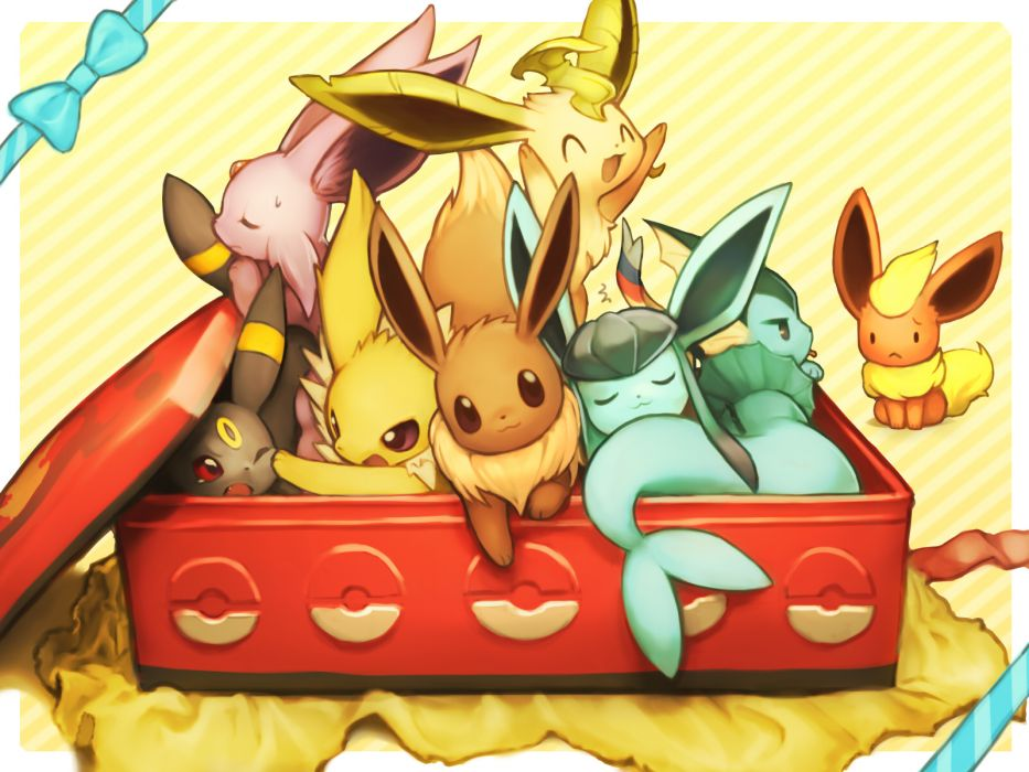 Pokemon eevee espeon flareon fuchisa glaceon jolteon leafeon 933x700