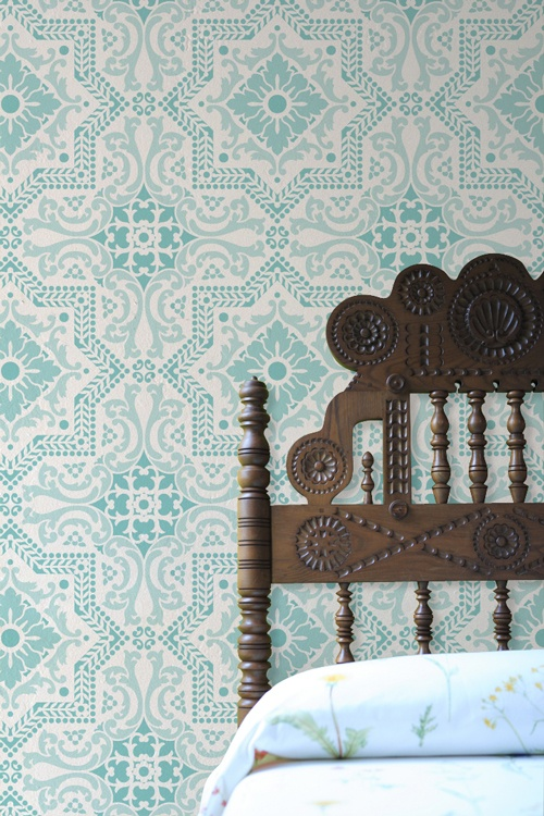 Spanish tile inspired wallpaper Wall Patterns Color Headboards 500x750