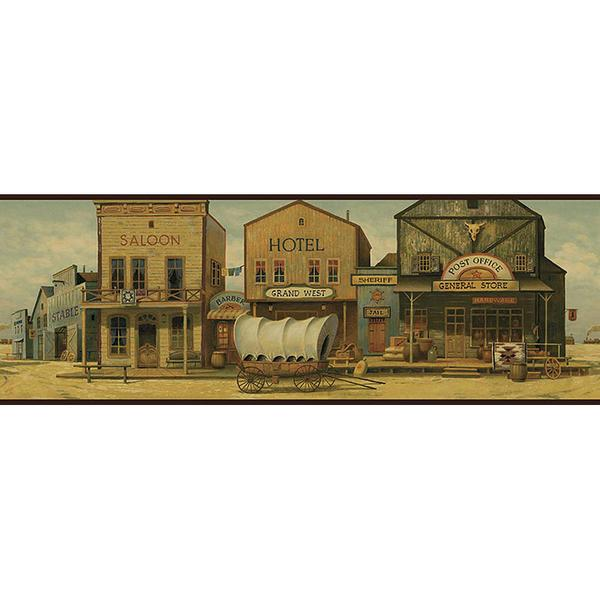 Old West Town Wallpaper Borders BE10501B Buffalo Trader Online 600x600