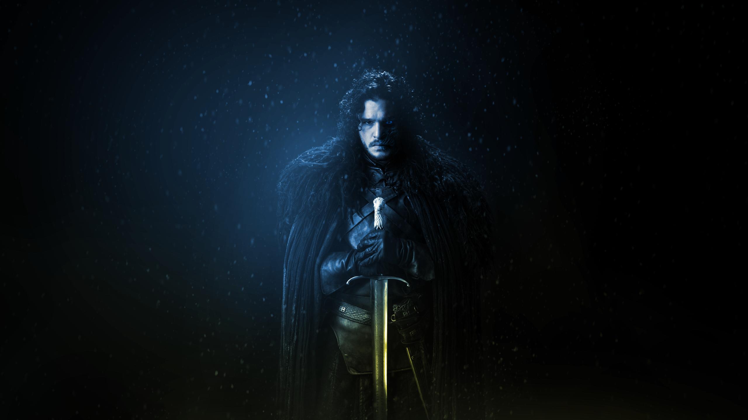 Jon Snow Game of Thrones sword TV Kit Harington wallpaper 2560x1440