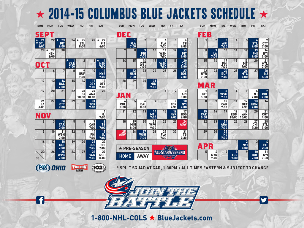 Columbus Blue Jackets Schedule - Best Jacket 2017