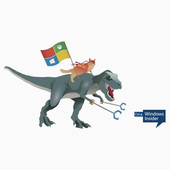 Windows 10 Ninja Cat on T Rex Stickers by Asdrubal Pocinho 550x550