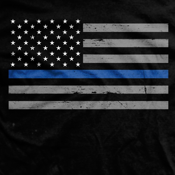 Thin Blue Line Flag Normal Fit T Shirt 600x600