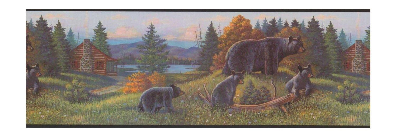Black Bear Lodge Wallpaper Border WL5627B Rustic Log Cabin Cub 1500x520