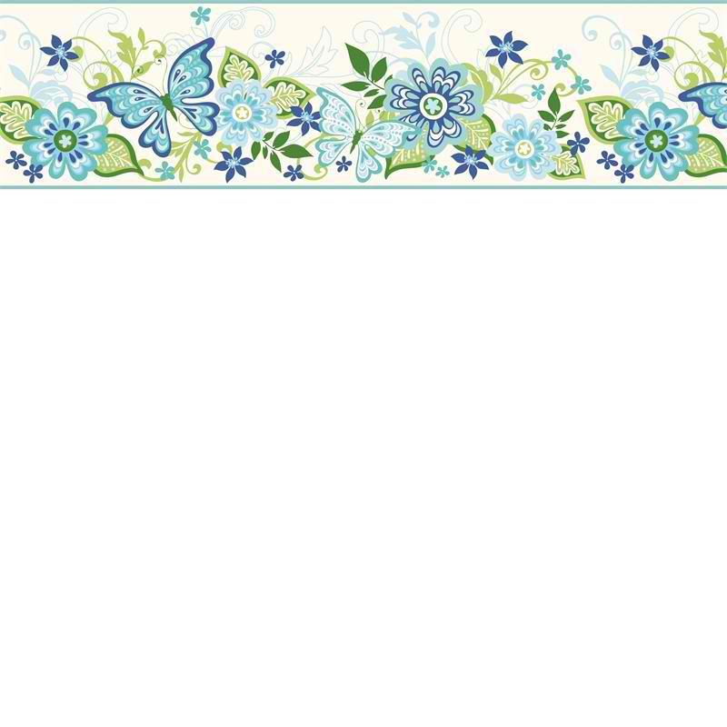 Blue Butterflies and Blooms Wallpaper Border   Baby Nursery Kids 800x800