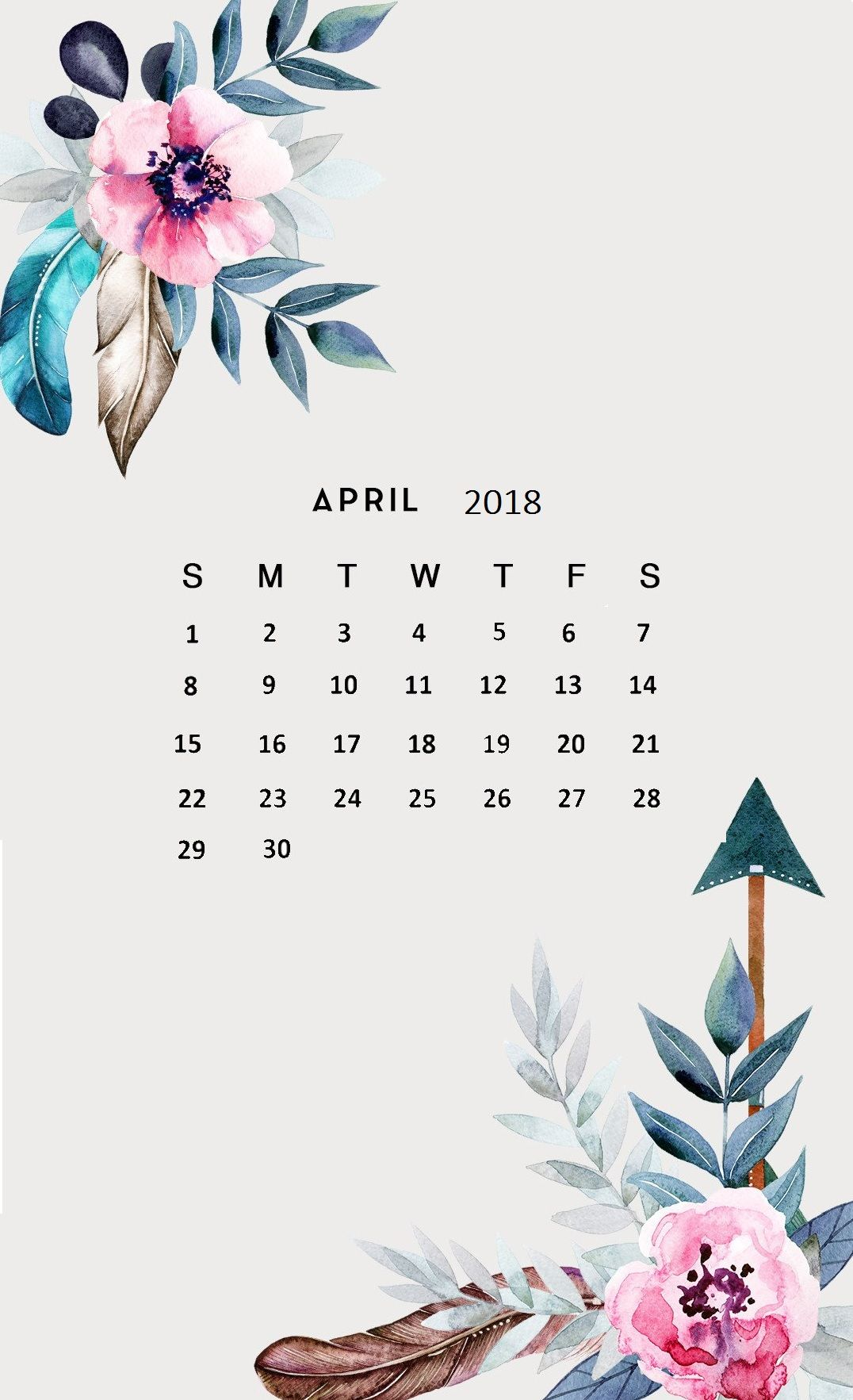 Floral April 2018 iPhone Calendar Wallpaper In the background 1076x1765