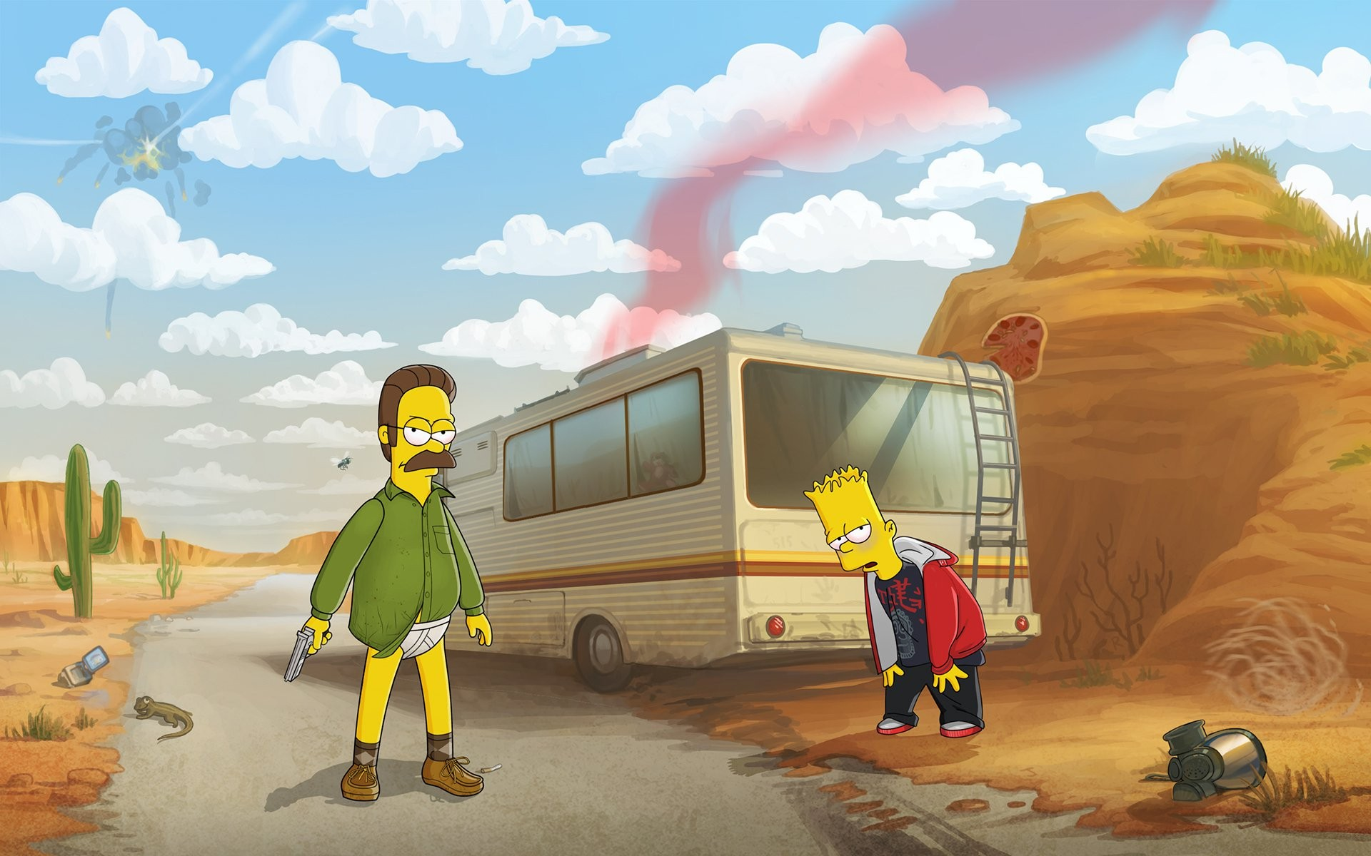 crossover Bart Simpson Ned Flanders humor Breaking Bad The 1920x1200