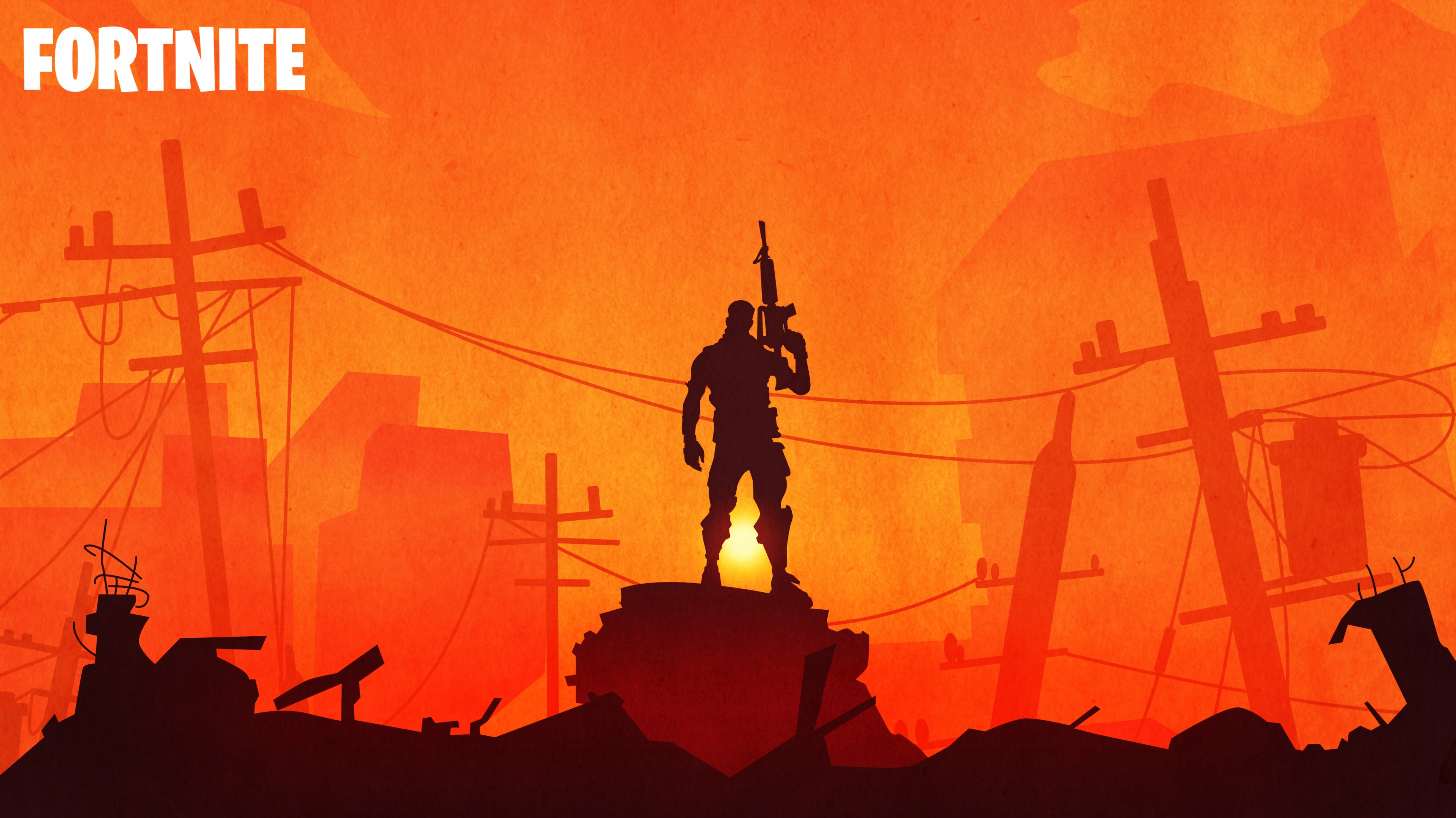 Fortnite Warrior Sunset Silhouette 4k 4110 Wallpapers and 3840x2160