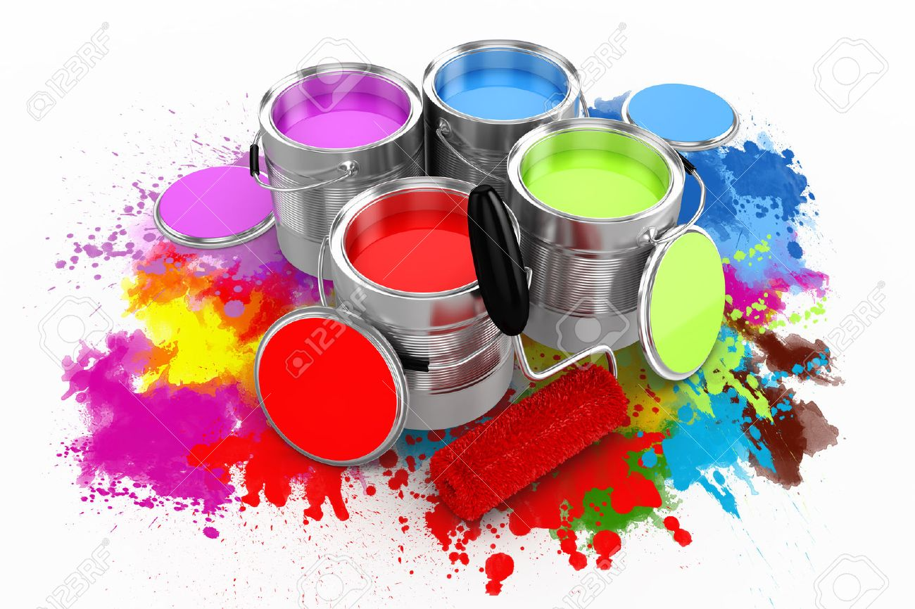 3d Render Of Colorful Paint Bucket On White Background Stock Photo 1300x866