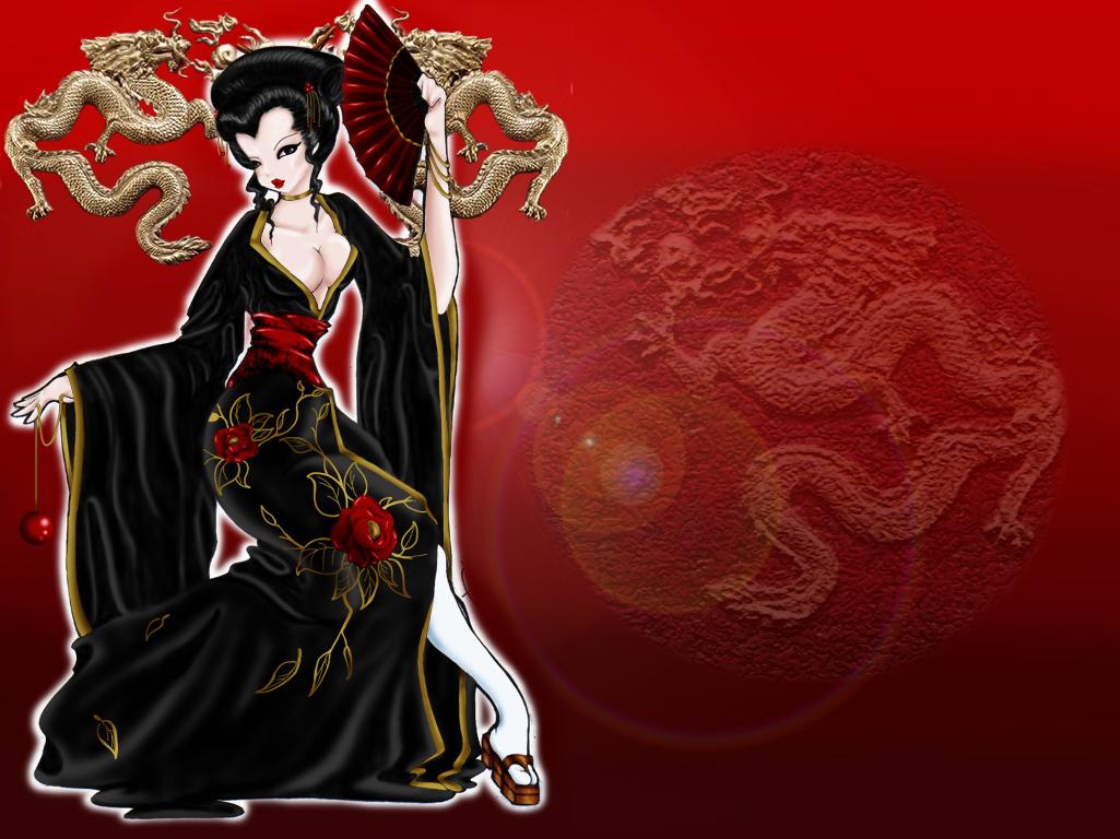 Pin Geisha Painting Wallpapers Wallpaper 458618 1025x768