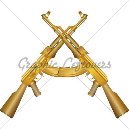Two Gold Ak 47 GL Stock Images 500x500