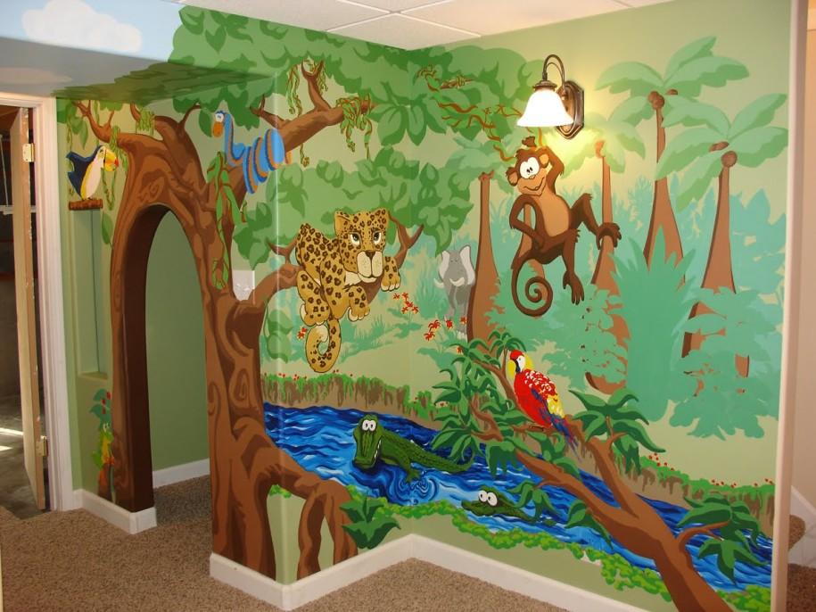 Jungle theme wallpaper for kids wallpapersafari for Jungle themed playroom