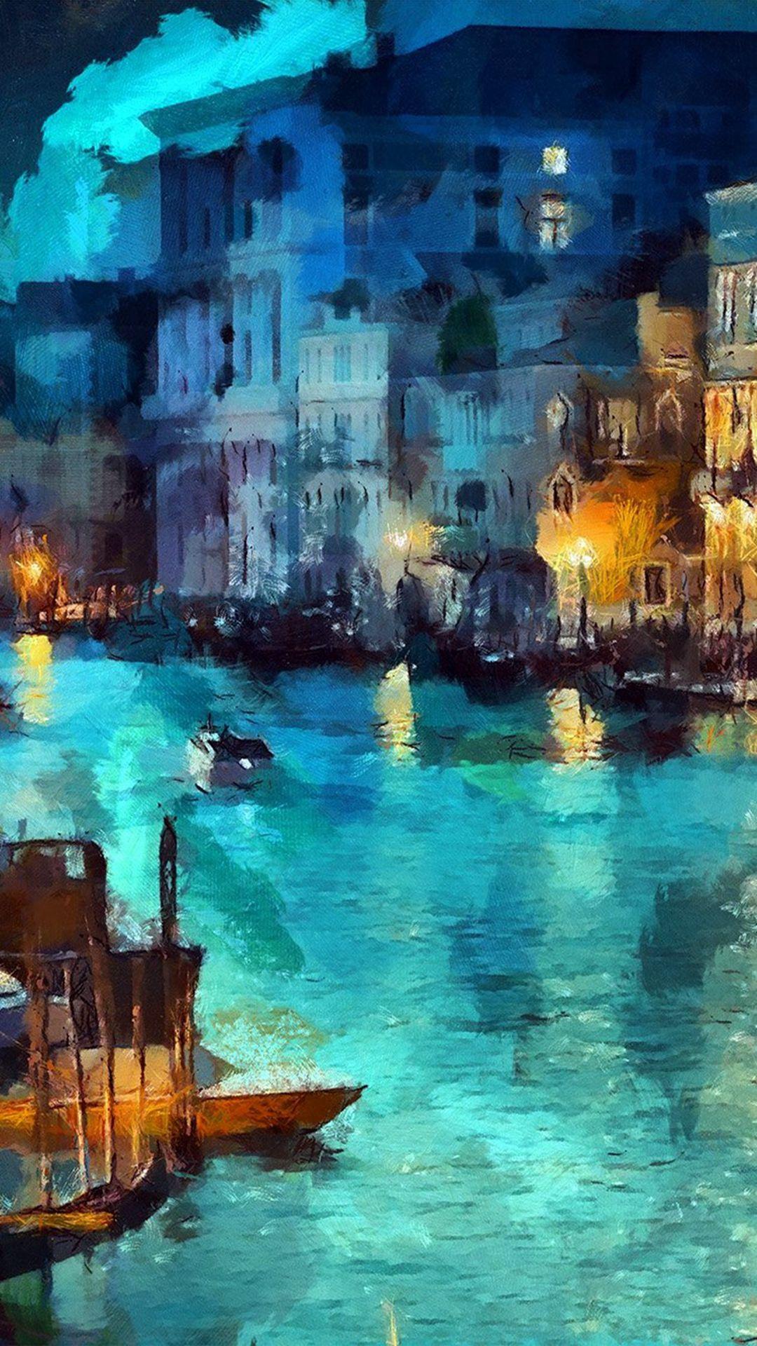 Art Classic Painting Water Lake Night Blue iPhone 6 plus 1080x1920