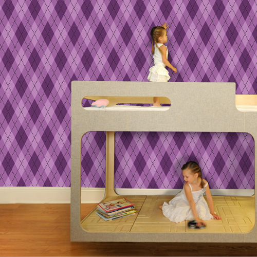 Astonishing Argyle Removable Wallpaper in Pure Purple by Pop Lolli 500x500