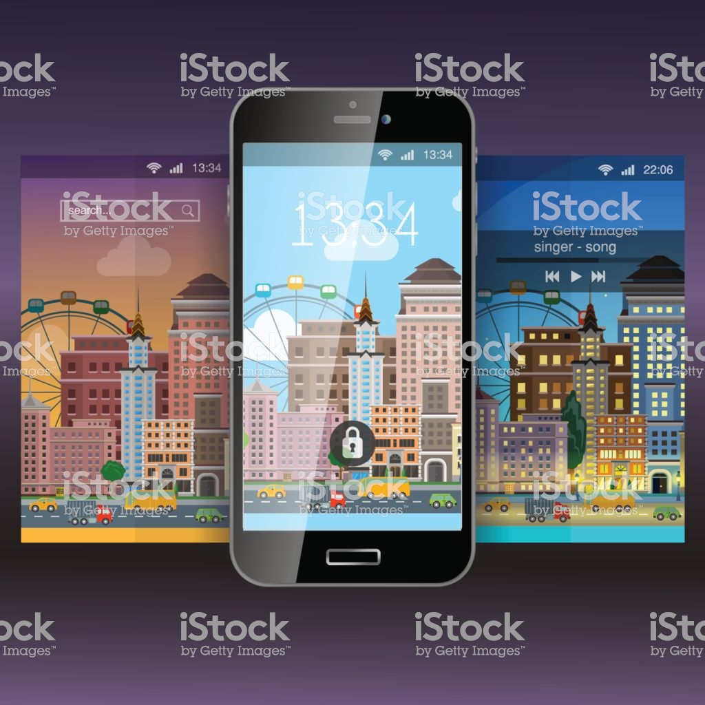 Mobile Wallpaper Modern City Flat Style App Application Lockscreen 1024x1024